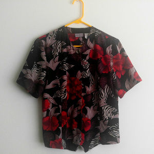 Bora Bora Short Sleeve Floral and Zebra Print Top